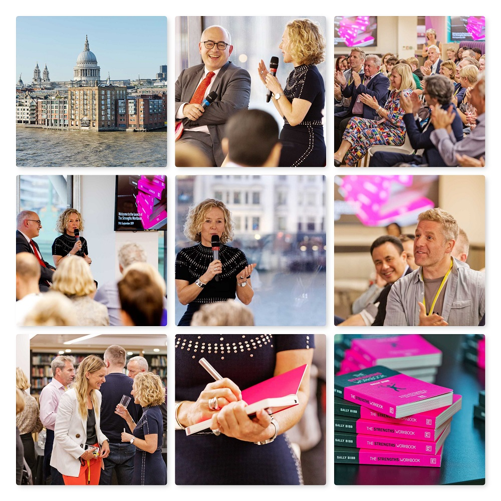 The Strengths Workbook London launch 2019 with Stefan Stern and Sally Bibb collage of images