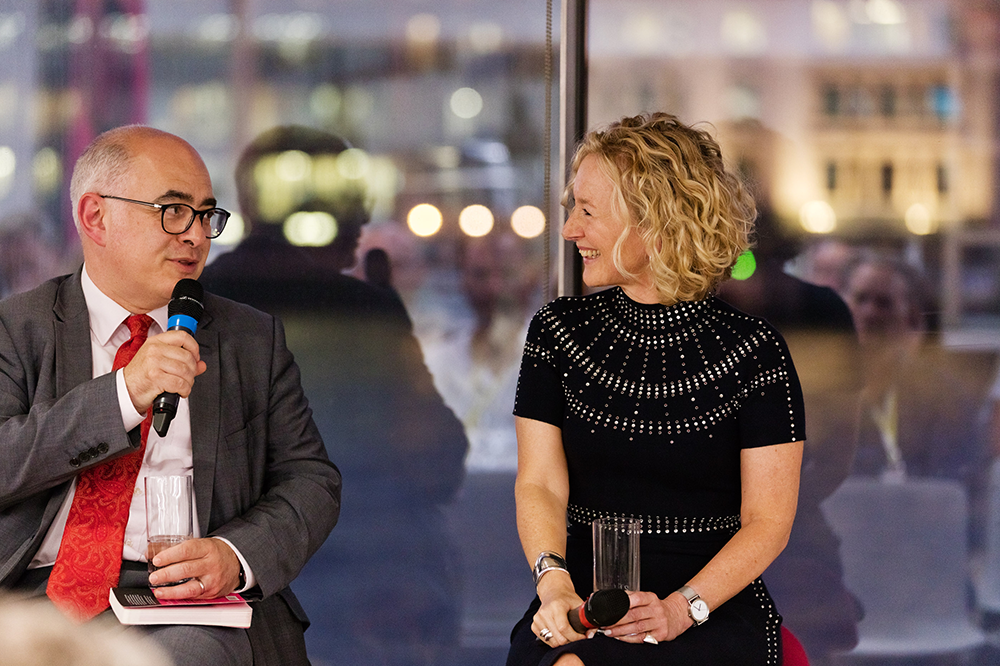Stefan Stern interviewing Sally Bibb The Strengths Workbook London launch 2019